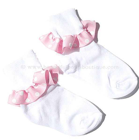 Pink and White Polka Dot Ribbon Ruffle Socks