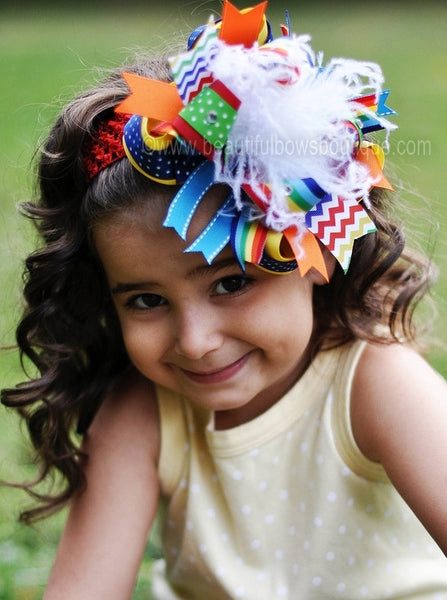 Primary Rainbow Chevron Colors Over the Top Hair Bow or Baby Girl Headband