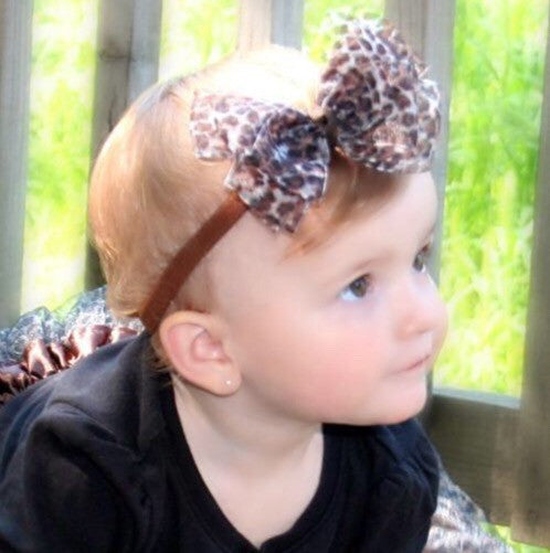 Dainty Sheer Leopard Girls Hair Bow Clip or Headband