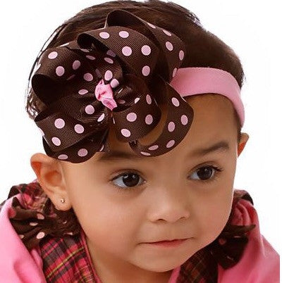 Boutique Pink and Brown Polka Dots Hair Bow Clip or Baby Headband