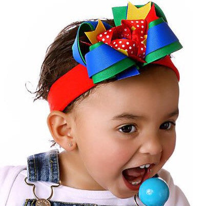 Bright Colors Primary School Hair Bow Clip or Baby Headband