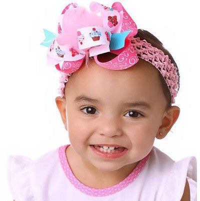 Large Boutique Birthday Cupcake Hair Bow Clip or Baby Headband
