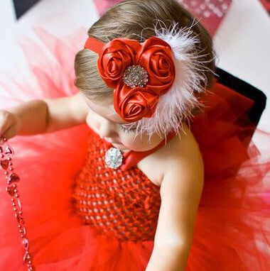 Silk Fabric Rose Red Baby Headband