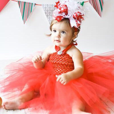 Girls Fancy Solid Red Crochet Tutu Dress