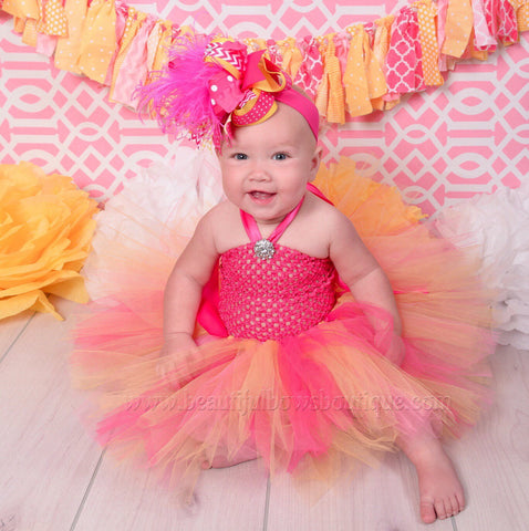 Buy Orange Peach and Hot Pink Tutu Dress and Headband Set Online