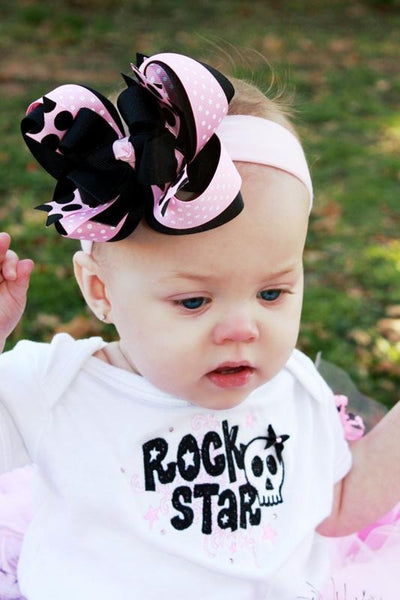 Buy Black and Pink Girls Hair Bow Clip or Headband Online