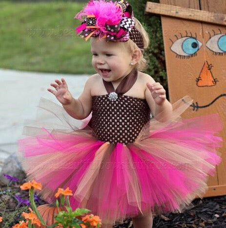 Little Girl Fall Tutu Dress Bright Autumn Colors