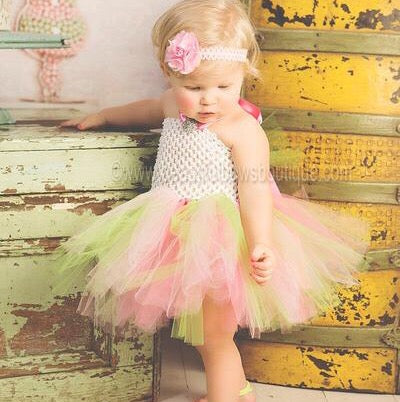 Pink and Green Tutu Outfit Toddler Girl