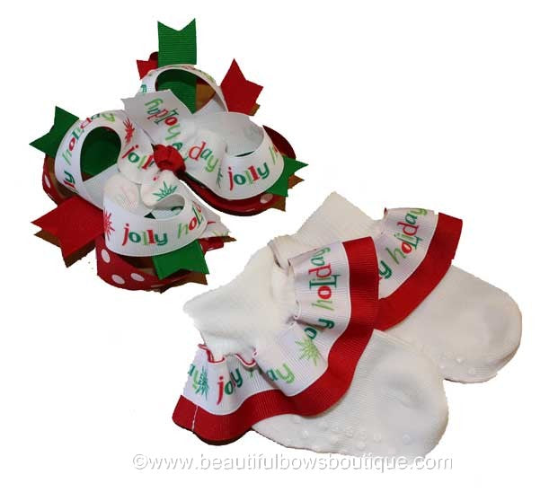 Jolly Holiday Ribbon Ruffle Christmas Socks