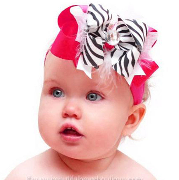 Stella Shocking Pink Zebra Girls Hair Bow Clip or Headband