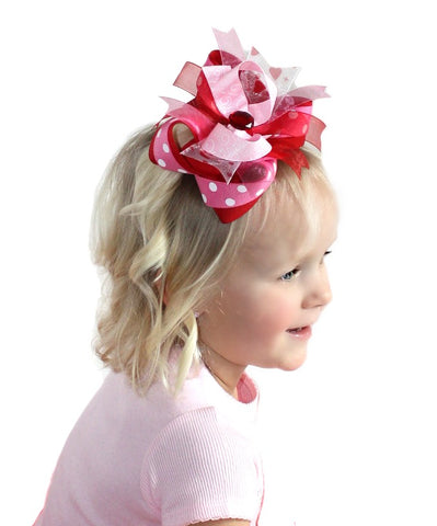 Pink and Red Valentines Day Toddler Bow, Valentine Baby Bow