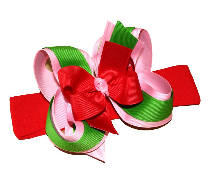 Pink Green and Red Christmas Baby Bow Headband, Girls Hair Bow