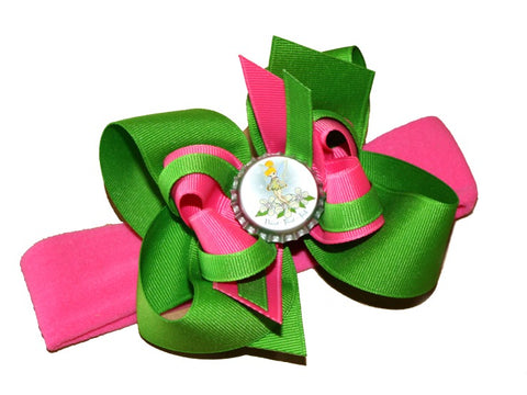 Pink and Green Tinkerbell Baby Bow Headband, Girls Hair Bow