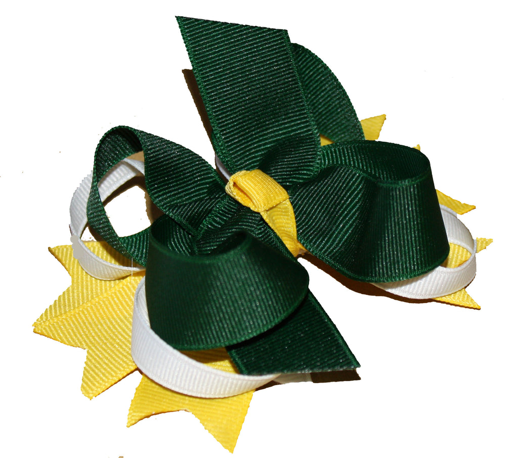 Buy Dainty Green Bay Packers Layered Hair Bow Clip Online
