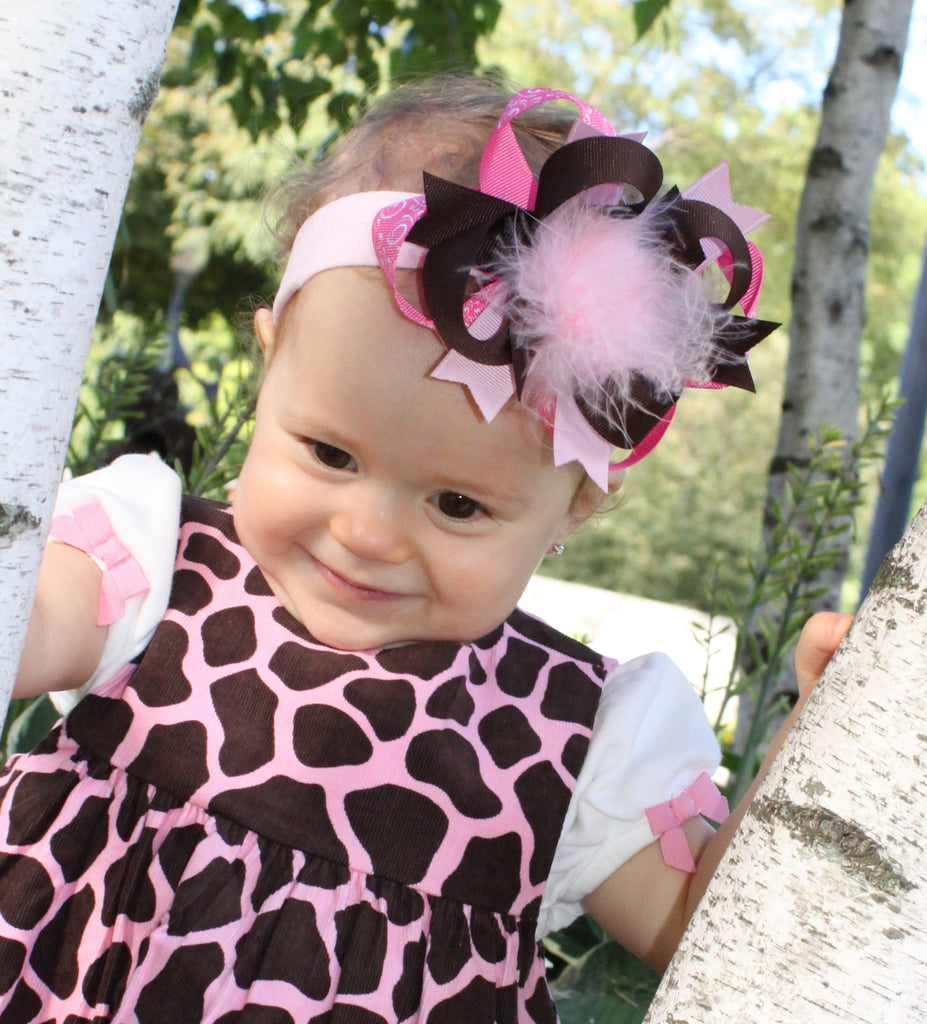 Pink and Brown Kiara Girls Hair Bow Clip or Headband