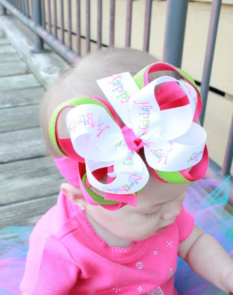 Happy Birthday Girls Hair Bow Clip or Headband