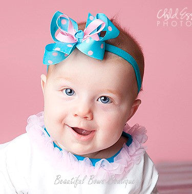Dainty Turquoise & Pink Girls Hair Bow Clip or Headband