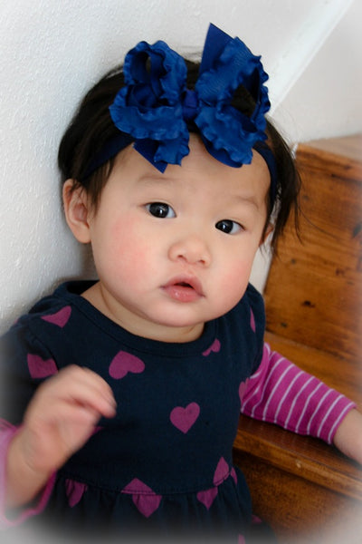 Dainty Light Navy  Ruffle Girls Hair Bow Clip or Headband