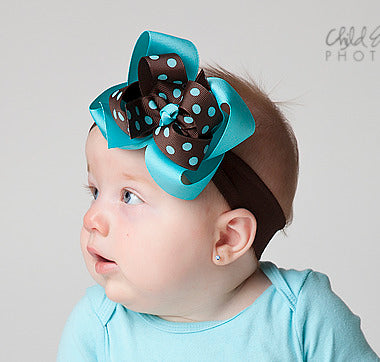 Turquoise Brown Polka Girls Hair Bow Clip or Headband