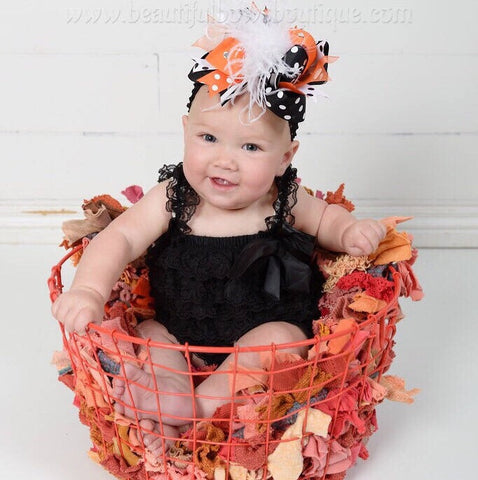 Halloween Baby Girl Black Lace Romper and Headband