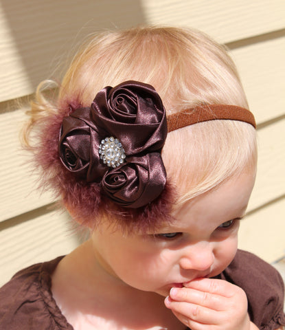 Infant Toddler Sweet Rosettes Brown Vintage Headband