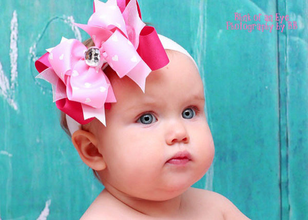 Buy Stella Shocking Pink & Pink Hearts Girls Hair Bow Clip or Headband Online