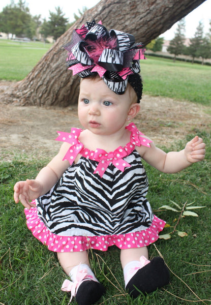 Big Hot Pink Black Zebra Girls Over The Top Hair Bow Clip or Headband