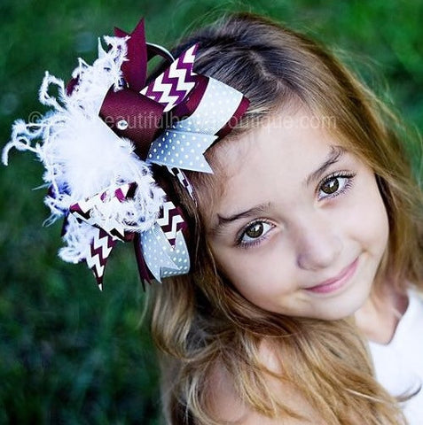 Buy Maroon and Grey Hair Bow,Texas A&M Bow,Grey and Maroon Headband Online
