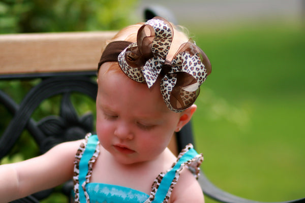 Cream Leopard Print Girls Hair Bow Clip or Baby Headband