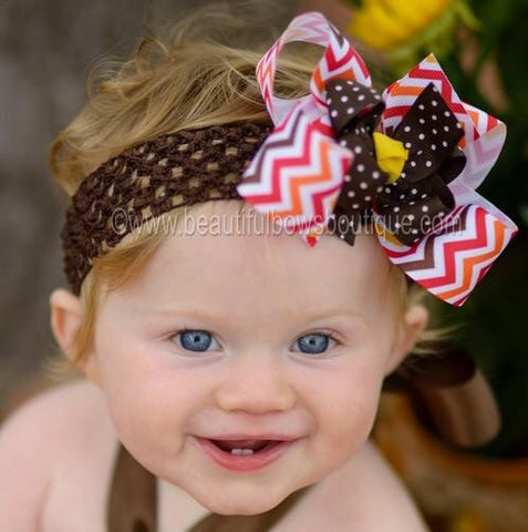 Buy Autumn Fall Chevron Brown Orange Red Girls Hair Bow Clip or Headband Online