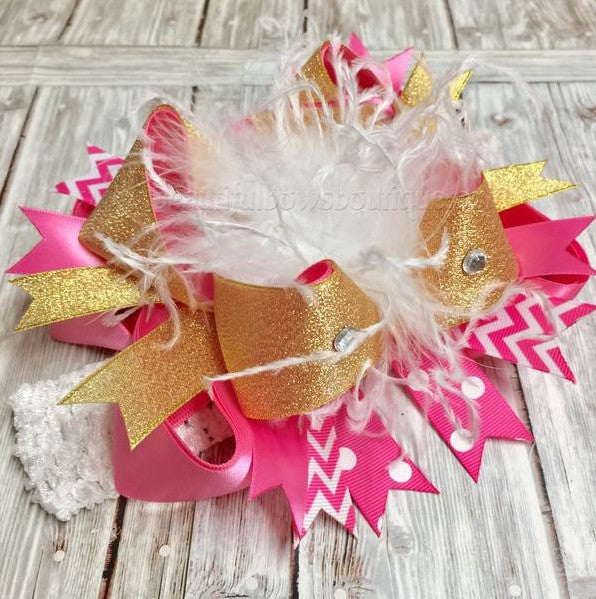 Big Boutique Hot Pink and Gold Over the Top Hair Bow