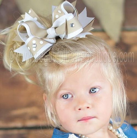 Big Boutique Khaki and White School Uniform Large Hair Bow or Baby Headband