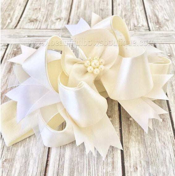 Buy Pearl Christening Headband Bow,Satin Cream Pearl Hair Bow Online