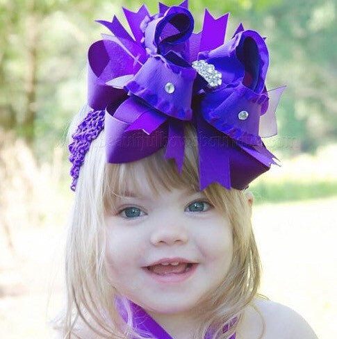 Boutique Big Purple Over the Top Hair Bow