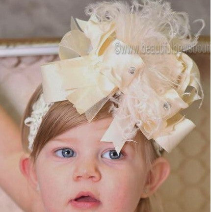 Big Boutique Solid Ivory Girls Over the Top Hair Bow Headband