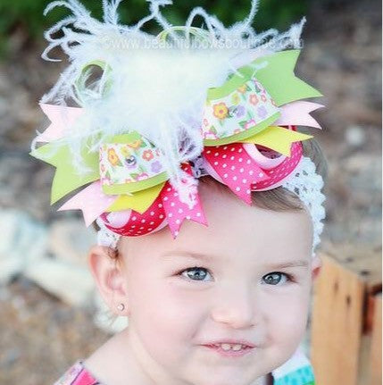 Big Boutique Spring Flower Garden Girls Over the Top Hair Bow Headband