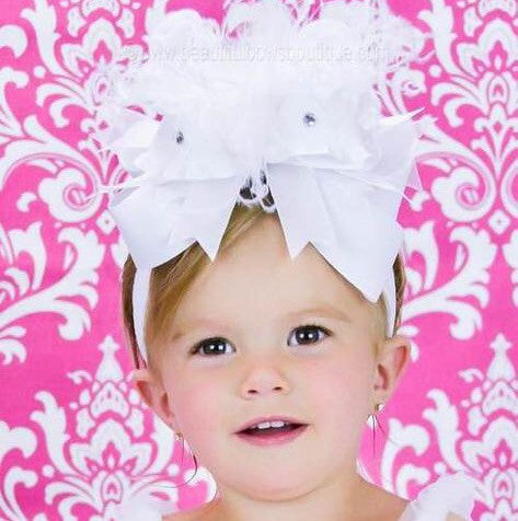 Big Boutique White Bow Infant Headband,OTT