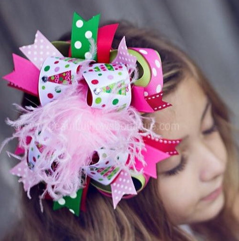 Buy Big Colorful Christmas Trees Holiday Over The Top Hair Bow Clip or Baby Headband Online
