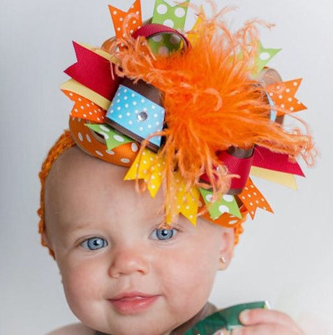 Big Fall Over The Top Hair Bow, Colorful Thanksgiving Headband