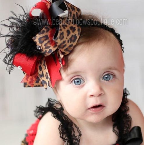 Buy Big Red and Black Leopard Over the Top Hair Bow, Cheetah Hair Bow Online