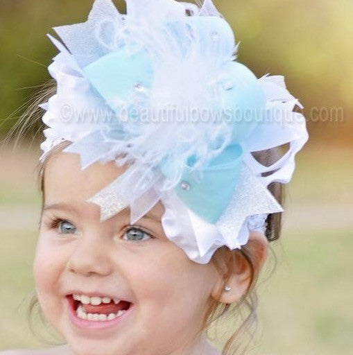Big Frozen Inspired White Baby Blue and Silver Over The Top Girls Hair Bow Baby Headband