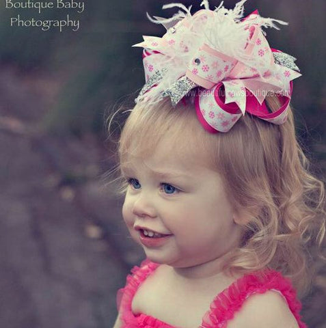 Buy Big Over the Top Pink Snowflakes Holiday Hair Bow Clip or Baby Headband Online