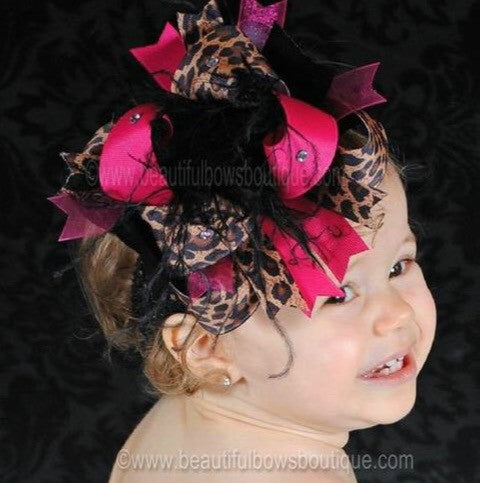 Buy Big Over the Top Shocking Hot Pink Leopard Hair Bow Clip or Headband Online