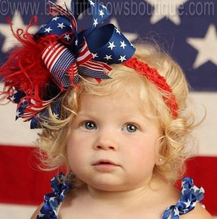 Buy Big Patriotic Flag 4th of July Boutique Girls Hair Bow Headband Online