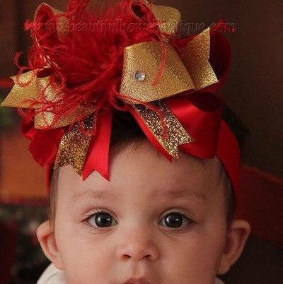 Buy Big Red Gold Christmas Hair Bow for Girls Online