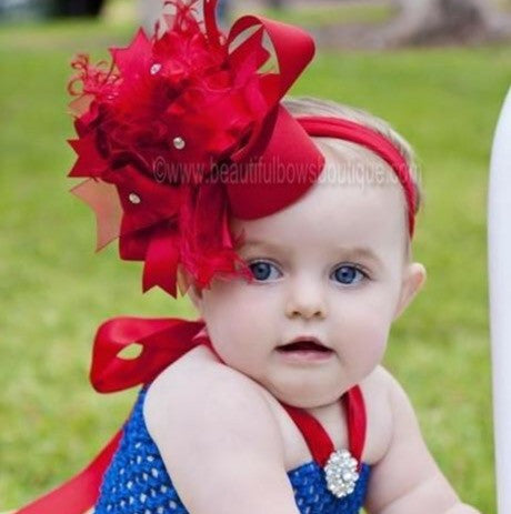 Big Solid Red Over The Top Girls Hair Bow Headband, Snow White Baby Girls Headband