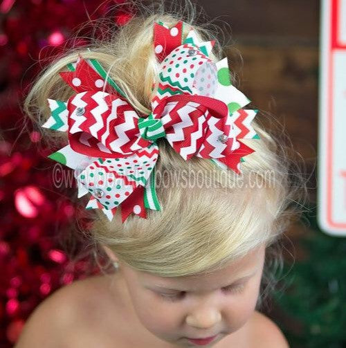 Big Spike Boutique Christmas Holiday Red Green Chevron Dot Hair Bow or Baby Headband