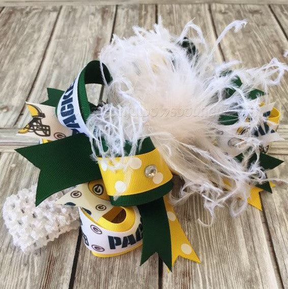Buy Big Green Bay Packers Hair Bow NFL Online