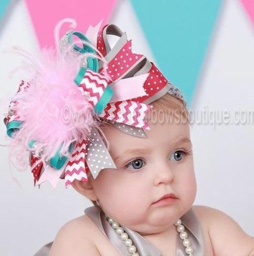 Big Turquoise Gray and Shocking Pink Chevron Over the Top Hair Bow Baby Girls Headband