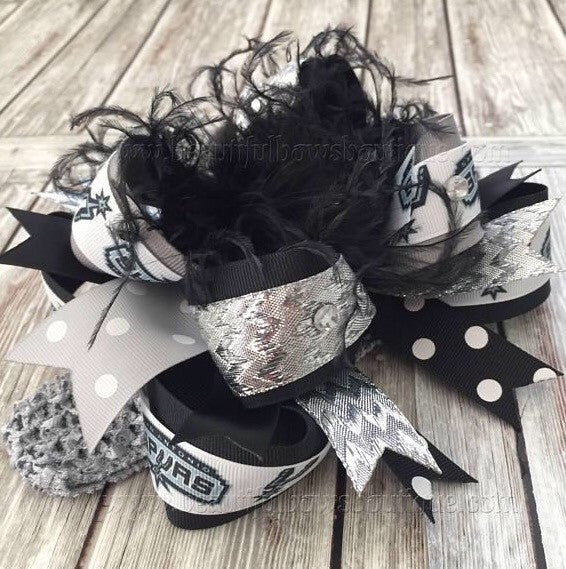 Big San Antonio Spurs Hair Bow Over the Top